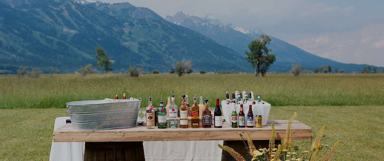 Cocktail bar from Bistro Catering at Teton wedding reception